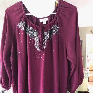 Dress Barn Sequined peasant top 14/16